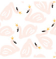 seamless childish pattern with swan princess vector image