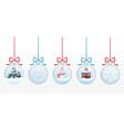 set of merry christmas glass ball toys vector image
