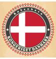 Vintage label cards of Denmark flag vector image