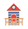 full color with lifeguard stand tower vector image