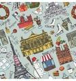 Paris winterDoodle landmarks seamless pattern vector image