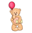 teddy with balloon and message vector image