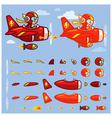 Red Thunder Plane Game Sprites vector image