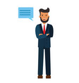 standing businessman with cross arms cartoon flat vector image