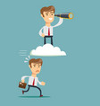 successful businessman with telescope on cloud vector image
