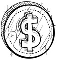 doodle currency coin dollar vector image vector image