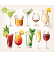 Collection of alcohol drinks and coctails vector image