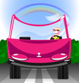 girl cat in the car vector image vector image