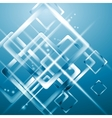 Tech blue background with blurred squares vector image vector image