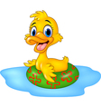 Cute duck floating with inflatable ring vector image vector image