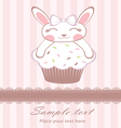Cute bunny on cupcake card vector image vector image