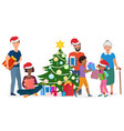 big happy family decorates the christmas tree vector image