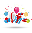 Birthday gift box with confetti vector image