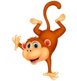 Cute monkey cartoon standing in its hand vector image
