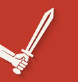 hand with sword symbol vector image