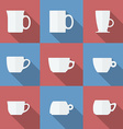 Icon Set of cups Flat style vector image