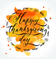 thanksgiving day lettering vector image
