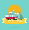 time to travel banner mountain forest bus in flat vector image