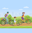 young family with girl kid riding a bikes on the vector image