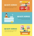 Set of Quality Service in Supermarket Banners vector image vector image