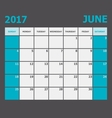 June 2017 calendar week starts on Sunday vector image
