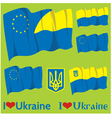 flags and coats of arms of Ukraine and EU vector image