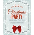 Christmas party poster template with red bow vector image