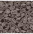 Bakery Sketch Pattern On Chalkboard vector image