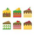cheesecake flat set vector image