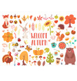 cute animals and plants set vector image