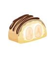 delicious dessert with banana and caramel cartoon vector image