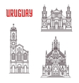 Historic famous architectural buildings of Uruguay vector image
