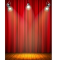 Illuminated Empty Stage With Red Curtain vector image