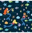 Pattern with cartoon mermaid vector image