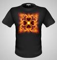 t shirts Black Fire Print man 27 vector image