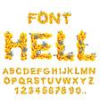 Hell font inferno ABC Fire letters Sinners in vector image