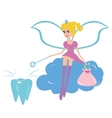Tooth fairy sitting on a cloud vector image