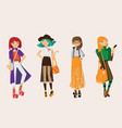 lovely set young hipster girls drawn in casual vector image vector image