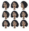 Set of emotions of the same black girl vector image