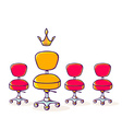 set of red office chair and one yellow ch vector image