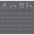 Alphabet pseudo 3d letters on dark gray vector image