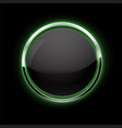 black button with chrome frame glass button with vector image