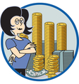 Business lady with money vector image