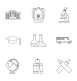 Children education icons set outline style vector image