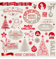 Christmas emblems and doodles vector image
