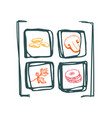 healthy vegan food hand drawn icon set vector image