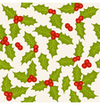 Holly seamless pattern vector image