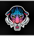 neon pop wild cat design - angry tiger face vector image