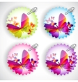 Round sticker with butterflies set vector image