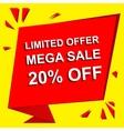 Sale poster with LIMITED OFFER MEGA SALE 20 vector image